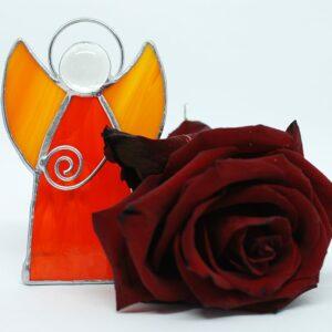 aniolek-stojacy-pomaranczowy-dekoracje-witrazowe-zizuza