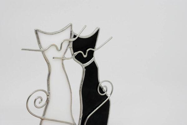kotki-parka-bialy-czarny-dekoracje-witrazowe-zizuza