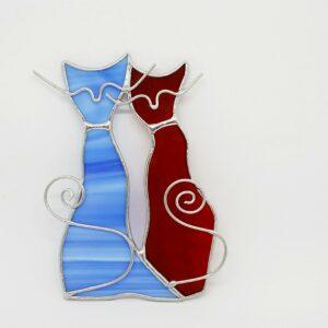 kotki-parka-niebiesko-czerwony-ozdoba-witrazowa-sklep-z-rekodzielem-zizuza