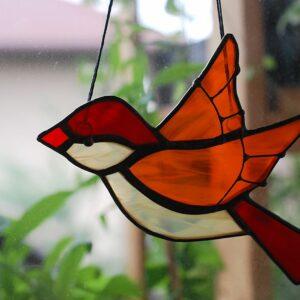 ptaszek-wiszacy-czerwono-pomaranczowy-zawieszka-witrazowa-zizuza
