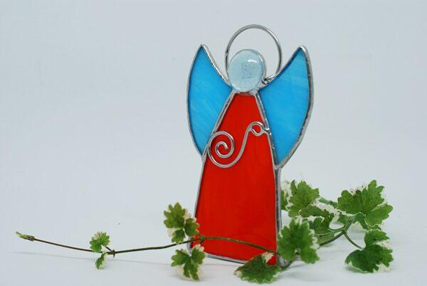 aniolek-stojacy-pomaranczowo-niebieski-aniolek-witrazowy-rekodzielo-artystyczne-zizuza
